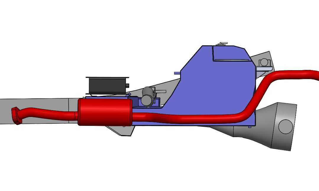 Cross Section View Showing The New Tank 5mm Higher Than OEM Muffler.